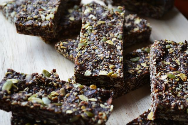 Nourish The Roots: Raw Superfood and Seed Energy Bars.  I actually made these and they were delicious.  I had to make a couple of substitutions:  cashews for sunflower, hemp hearts and flax for poppy, and I skipped the bee pollen.  The kids loved them.