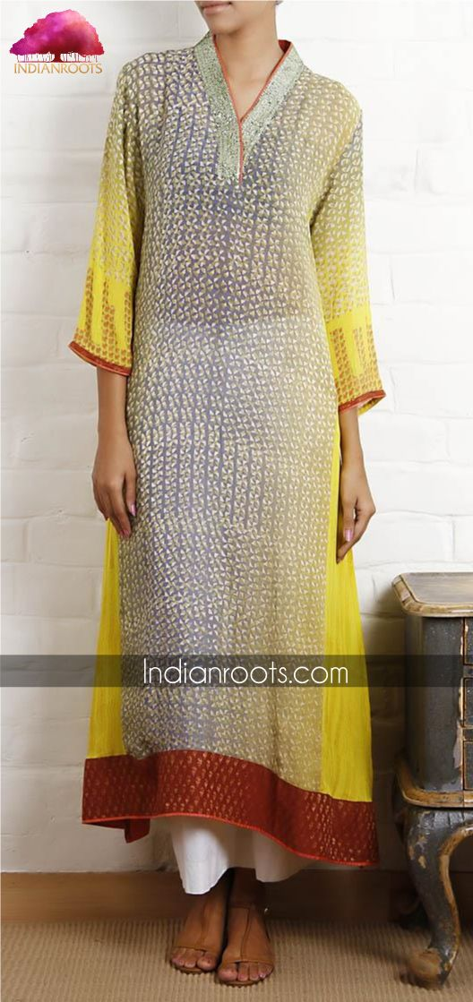 Block printed georgette Pakistani tunic with brocade finishes by Weavers Studio on Indianroots.com