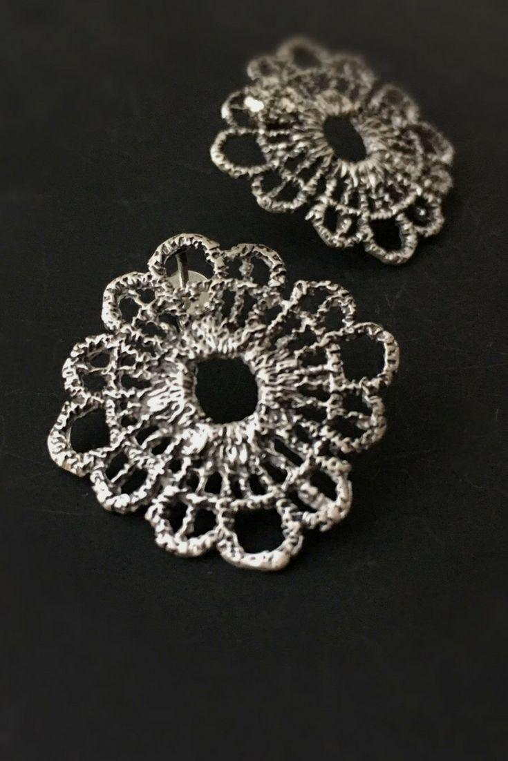 Large filigree stud earrings in Sterling silver for a boho look! #filligreeearrings#bohojewelry#bohoearrings#etsyjewelry