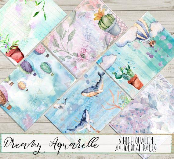 Watercolor Printable Junk Journal Kit Digital A4 Dreamy Art