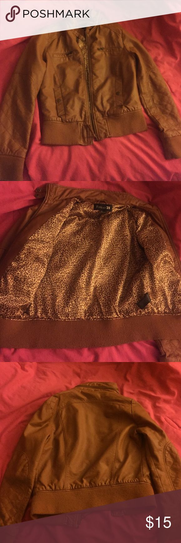 A camel leather jacket Faux leather jacket with a satin cheetah lining Forever 21 Jackets & Coats Puffers