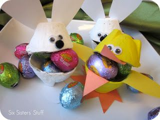 Easter Bunny and Duck Egg Carton Candy Cups | Six Sisters' Stuff
