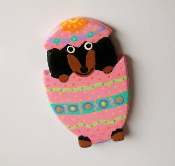 Dachshund Fridge Magnet  Easter Egg Surprise by LaughingFridge, $15.00