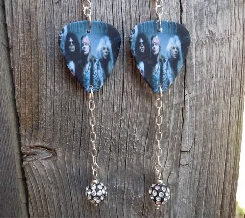 Guns n Roses Group Picture Guitar Pick Earrings with Pave Bead Dangles