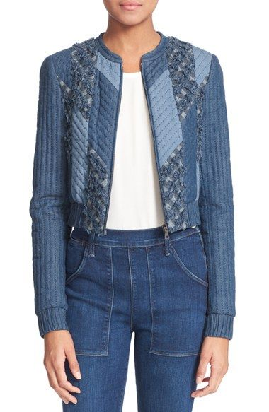 Free shipping and returns on Rebecca Taylor Patchwork Chambray Jacket at Nordstrom.com. Channel quilting unifies this multihued patchwork jacket styled with clean elastic edges, a sporty zip front and dimensional fringe texture.