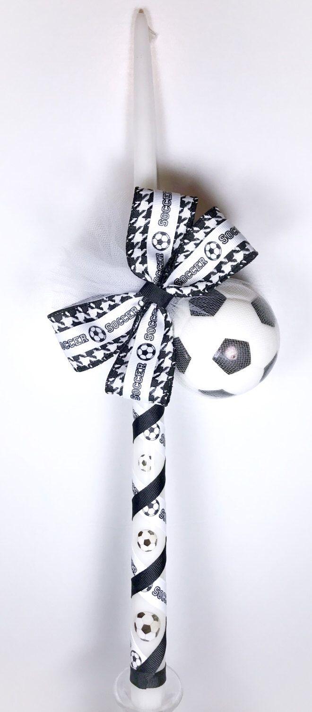 Soccer - Greek Easter Candle (Lambatha) by EllinikiStoli on Etsy https://www.etsy.com/listing/512924039/soccer-greek-easter-candle-lambatha