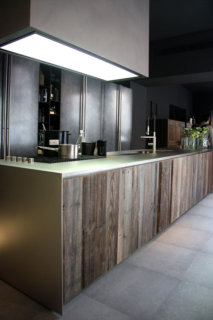 XILA & Aprile Kitchen, Antiquated Timber, Matte Stainless Steel, Boffi Kitchen