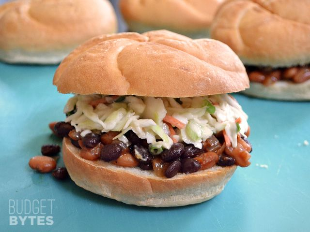 These BBQ Bean Sliders topped with a savory slaw are a quick vegetarian fix for when you're craving BBQ. Step by step photos.