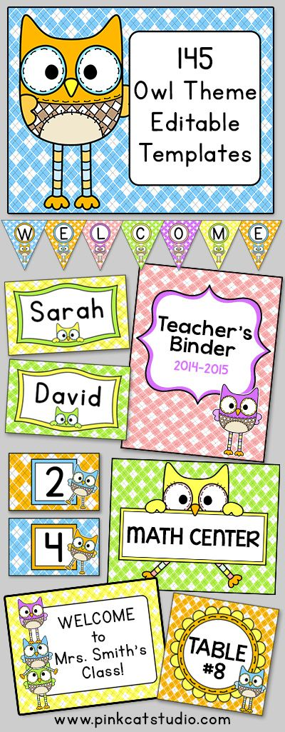 Let your imagination soar when you decorate your classroom using these adorable owl kiddies theme labels and templates! This value packed set includes 145 full color template designs that can be used for posters, signs, labels, stickers, binder covers, newsletters, certificates and anything else you can think of for your classroom! By Pink Cat Studio
