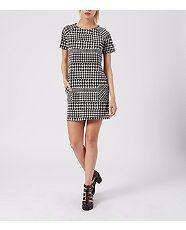Black Pattern (Black) Monochrome Short Sleeve Houndstooth Tunic Dress  | 320176209 | New Look