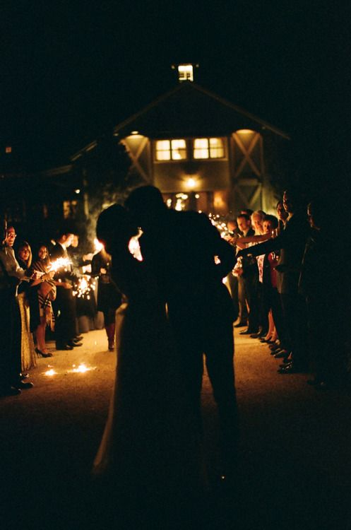 Photo inspiration - sparkers at the end of the reception.
