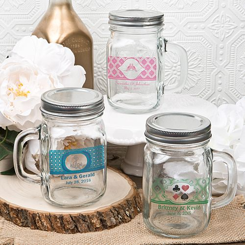 12 Ounce Personalized Glass Mason Jar with Handle and Silver Metal Screw Top from HotRef.com #Masonjar