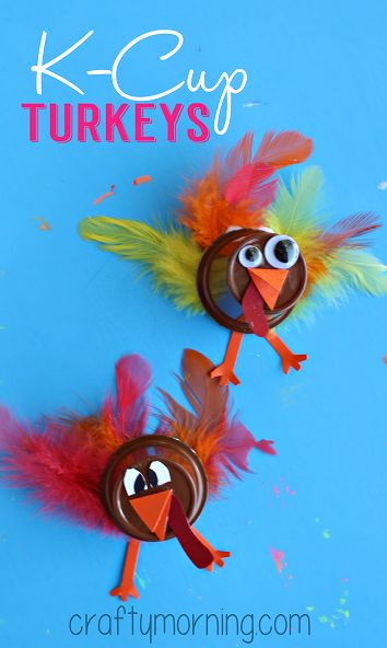 Upcycle K-Cups to Make a Turkey Craft #Thanksgiving craft for kids to make #recycled art project | CraftyMorning.com