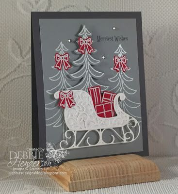 Merry Monday Challenge #222 using Stampin' Up! Santa's Sleigh and Christmas Magic. Debbie Henderson, Debbie's Designs.