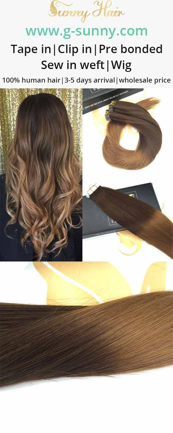 Sunny Hair tape in human hair extensions. dark brown to auburn ombre hair color. g-sunny.com
