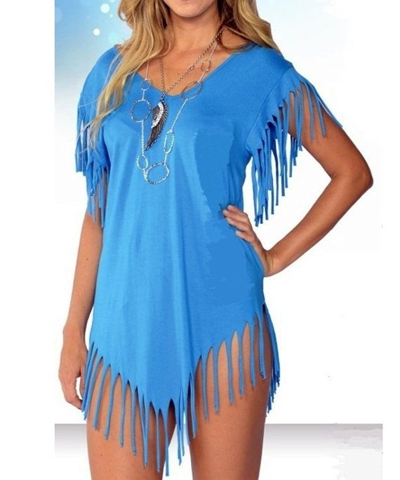 Fringe summer cover up top shirt bikini beach by ATTSYANTIQUES, $26.99