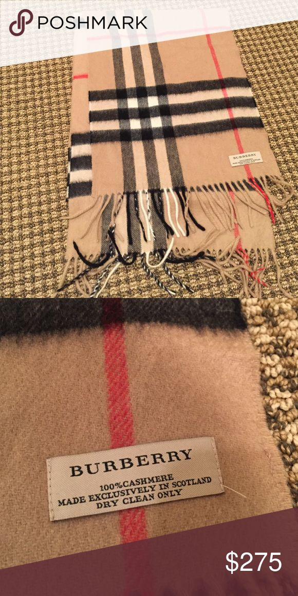 The Classic Burberry Checked Scarf - Camel Classic Burberry cashmere scarf in camel - barely worn! Burberry Accessories Scarves & Wraps