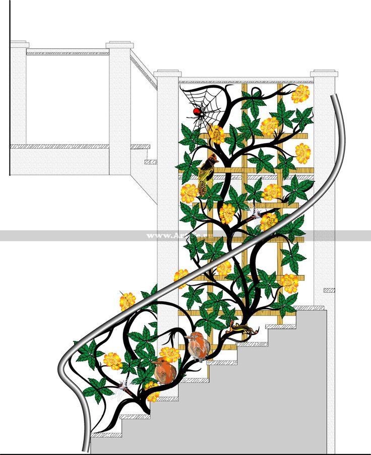 Эскиз перил в виде кованого дерева. Цветы, насекомые, птицы и ящерка.