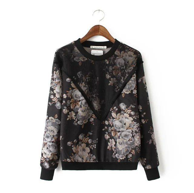 Retro flower print Lace patchwork de lana ocasional camiseta nueva 2016 inconformista mujeres top vintage invierno de la camiseta ropa mujer cc 11 en Camisetas de Moda y Complementos Mujer en AliExpress.com | Alibaba Group
