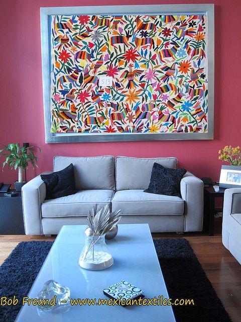 Custom color combination of otomi embroidery mam for Decoracion de interiores estilo mexicano
