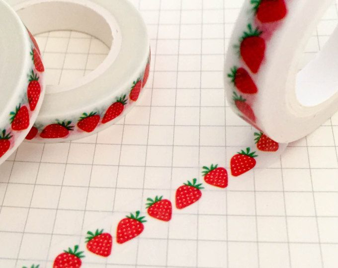 Strawberry Slim Washi Tape Roll - Fruit Masking - 8mm x 10m - Skinny Adhesive Tape Decorative - Strawberries