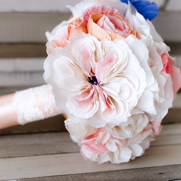 Product ID: BC0015We custom make paper flower bouquets in shades of soft pastels.Keep forever the memory of the most beautiful moment of your life!All our products are handmade.This bouquet can be done in medium or large size.For prices please send me an email with the product ID at hello@thediywedding.comImpress! Be unique! Be creative!We believe we can help you have the most amazing wedding! Call us!