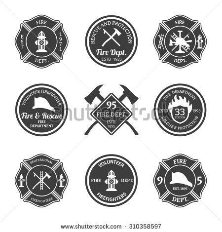 Fire department professional firefighter equipment black emblems set isolated  illustration