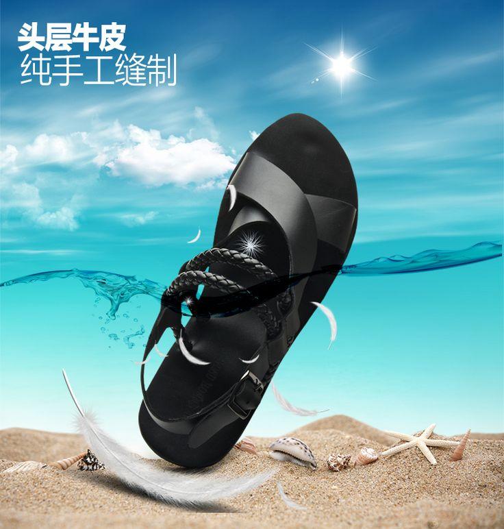 2014 estate nuovi uomini del cuoio genuino sandali , moda cut - outs gladiatore sandali degli uomini , spiaggia morbido massaggio di vibrazione flops , appartamenti degli uomini(China (Mainland))