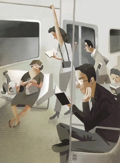 Reading on mass transit.