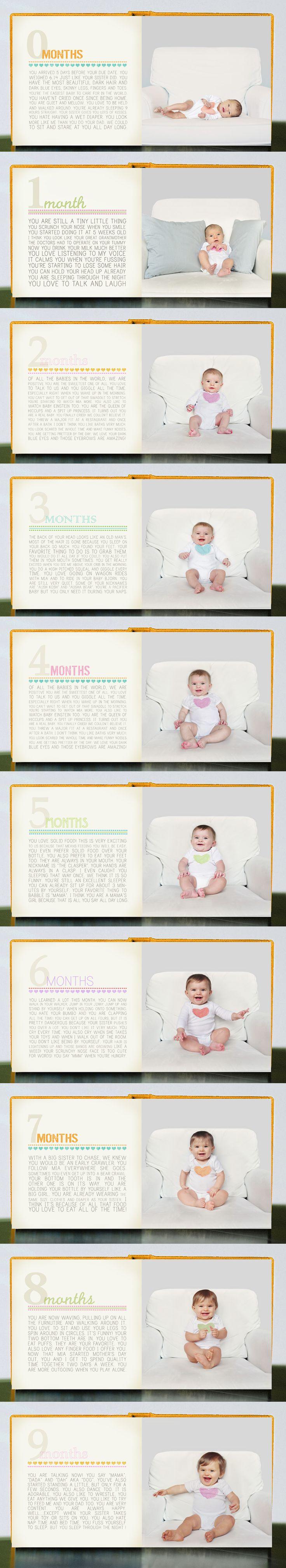 Month-by-month baby photo book.  I do something similar but I like this for the first year.