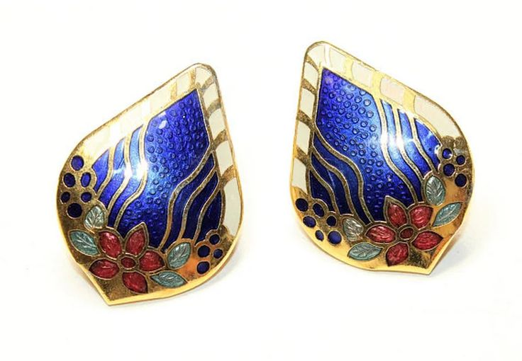 Blue Enamel Flowers and Gold Coloured Large Statement Pierced