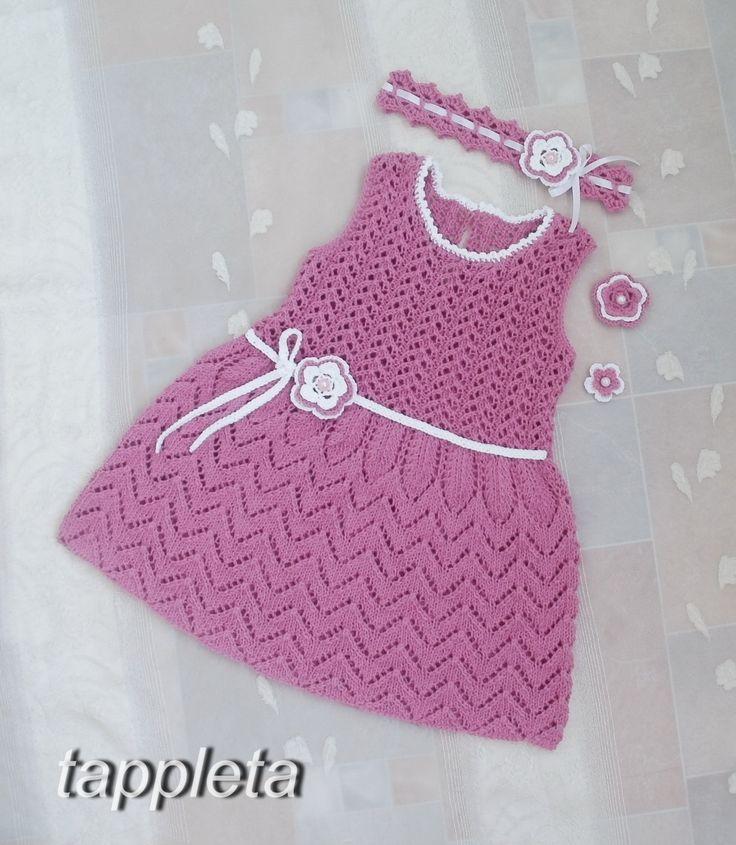Платье и повязка для девочки на 1 год, день рождения, наряд для крещения, розовый, вязанное платье на лето, хлопок by tappleta on Etsy