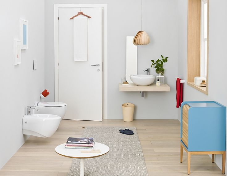 Bathroom:Modern Small Bathroom Design With Bathroom Sinks Also Mirror And Plants In A Pot Also Pendant Light Also Red Towel And White Towel In Hanger With White Door And Toilet Also Bathroom Carpet Also Round Table Inspiring Small Bathroom Design Ideas with Beautiful and Attractive Washbasins