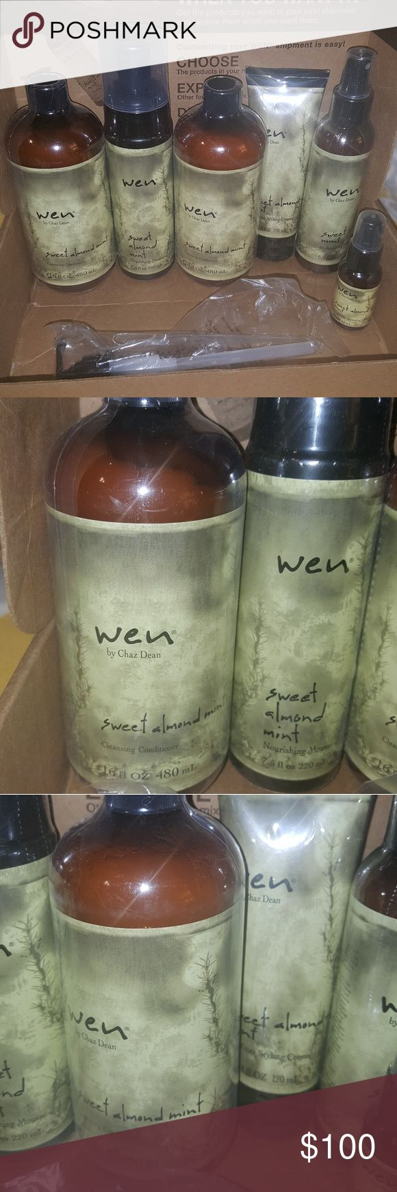 WEN by Chaz Dean Brand New Full Size Brand New WEN hair care products. $135.00 in product. 2 16oz cleansing conditioners. 1 7.5oz mousse, 1 4oz Anti Frizz styling cream, 1 oz straightening smoothing gloss, and 1 6oz replenishing  treatment mist and 1 pump. All sealed and bend new. wen Accessories Hair Accessories