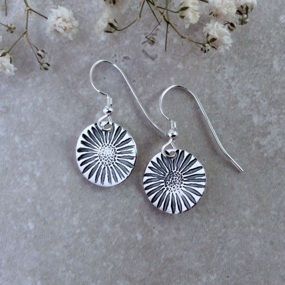 Botanical earrings fine silver handmade daisy by BlueRockJewellery