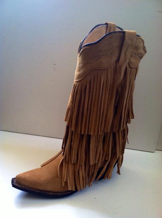 Boho 3 layer fringe boot on Etsy, $266.00