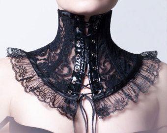 Viktorianische schwarzer Spitze Halskorsett von decadentdesignz