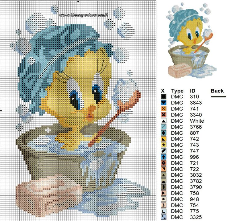 25 best ideas about tweety on pinterest cartoons love for Punto croce bagnetto