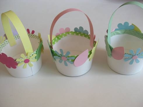 Dixie cup mini baskets use the flower and egg punches