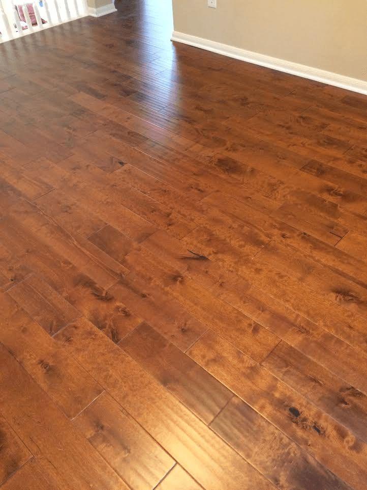 "Yulf Design & Flooring Hardwood Flooring - Art Collection Handscraped Walnut Birch 3/4in Thick X 5 Wide X Random Length Solid Hardwood Flooring (10.85 sq. ft. / box) / Birch / 5"" / Finished"