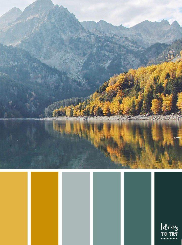 Autumn landscape color inspiration,color palette,teal and mustard color scheme,color palette,color inspiration