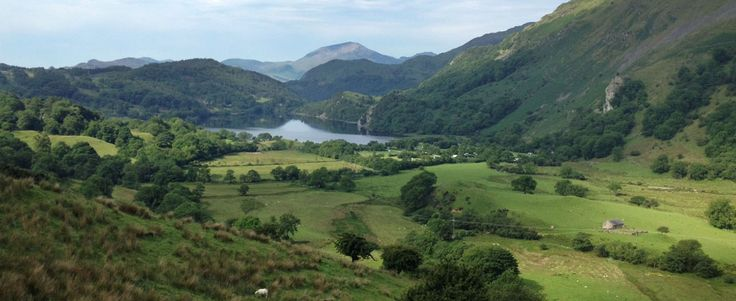 Gwynant valley lake aerial view from Wenalt walk_home