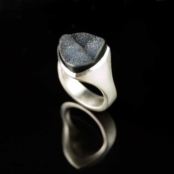 Black Drusy Agate Tetra Ring in Sterling Silver custom ring by nodeform