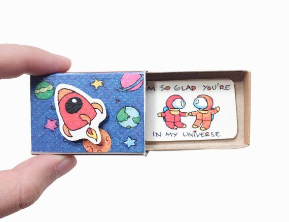 "Romantic Astronauts Love Card /Unique Love card for her/ Cute Matchbox Card for him/ Love Gift/ ""I'm so glad you're in my universe""/ LV096"