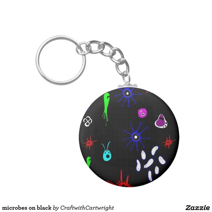 microbes on black basic round button key ring