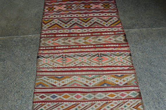 2.3 x 6.9 foot Antique Moroccan Berber Fine Quality Kilim Runner,Beautiful Full Soumak Beniourian Mo