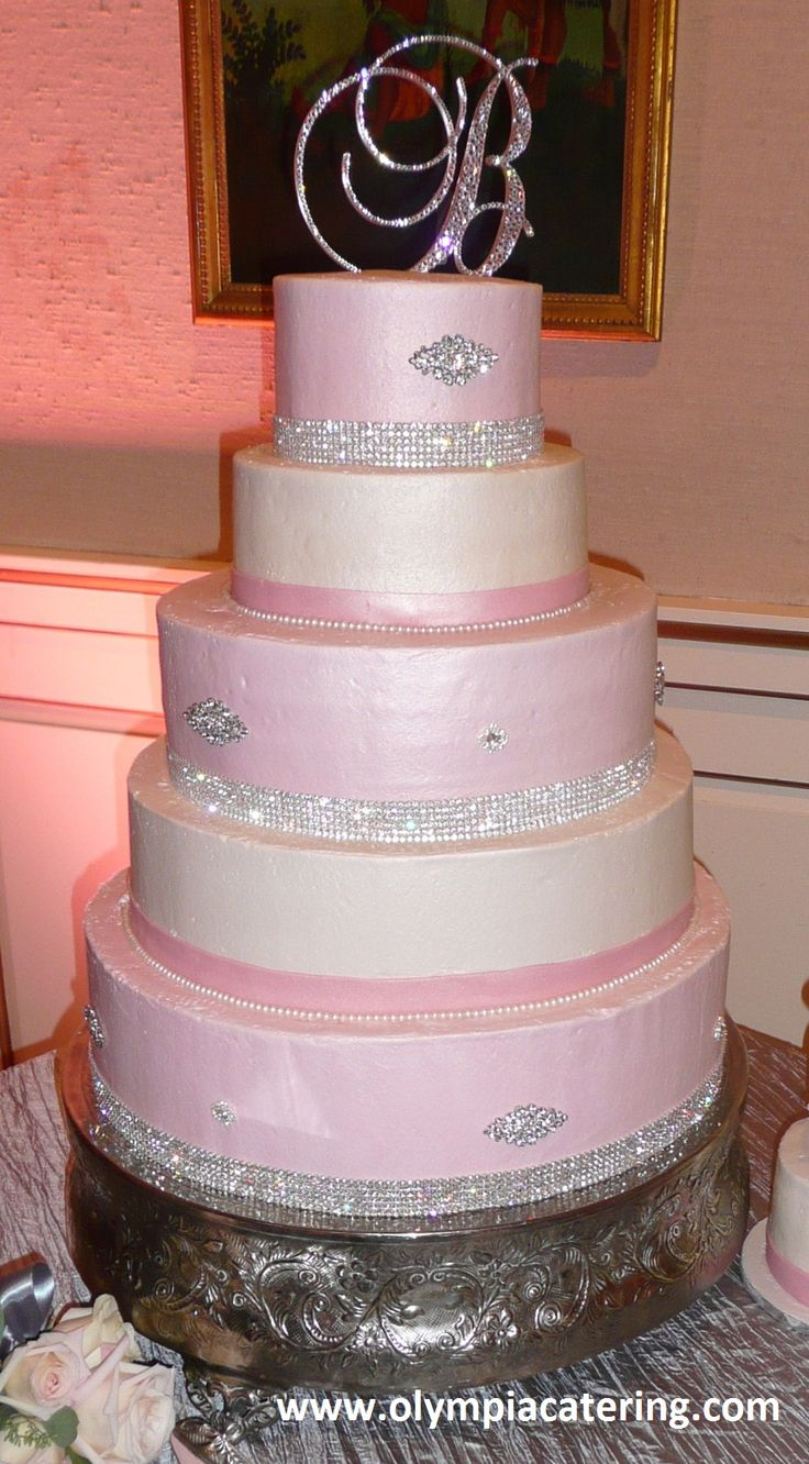 Round Wedding Cake, Light Pink and White Icing, Diamond Bling, Five Tiers