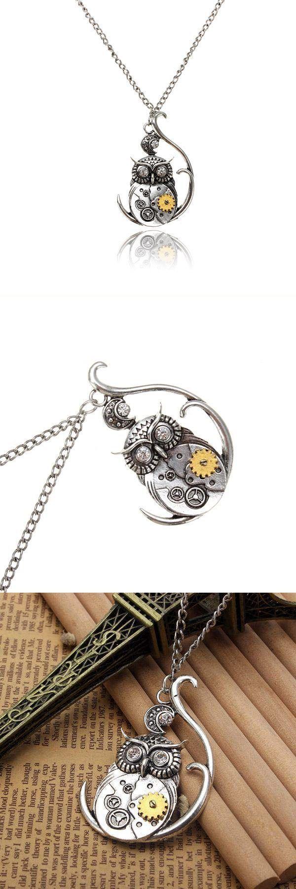 Vintage silver steampunk gear moon crystal eyes owl pendant necklace necklace pendants meanings #jewelry #pendants #diamonds #midnight #velvet #jewelry #necklaces #pendants #index #necklace #pendants #diy #necklaces #stone #pendants