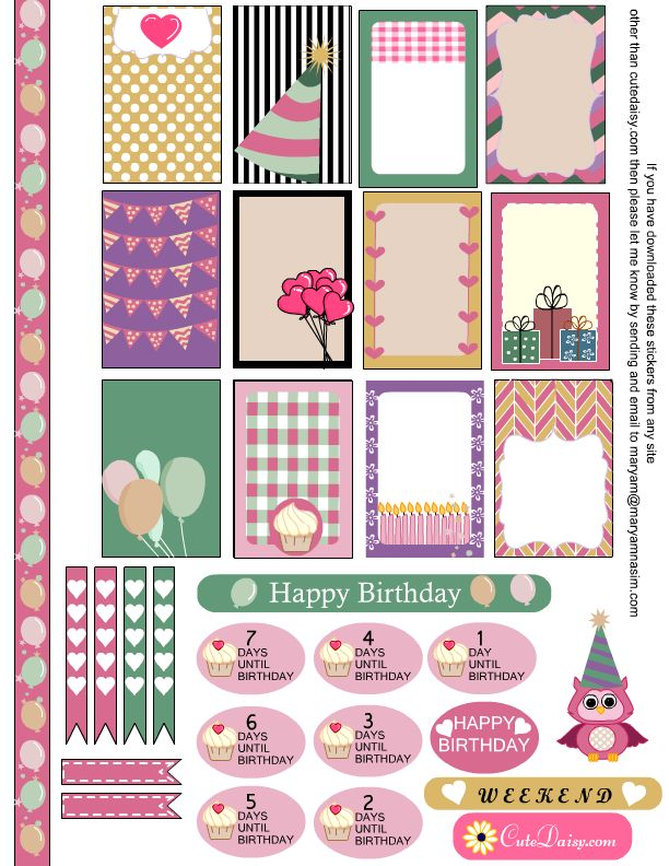 Free Printable Birthday Sampler Planners Sticker from Cute Daisy