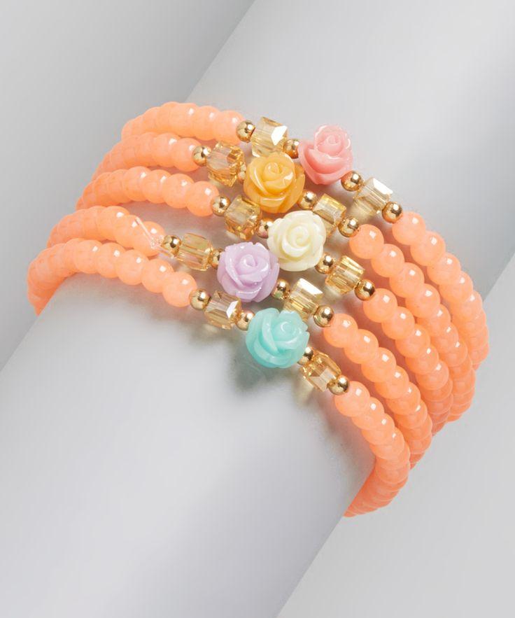 Coral & Green Ball Bead Wrap Bracelet
